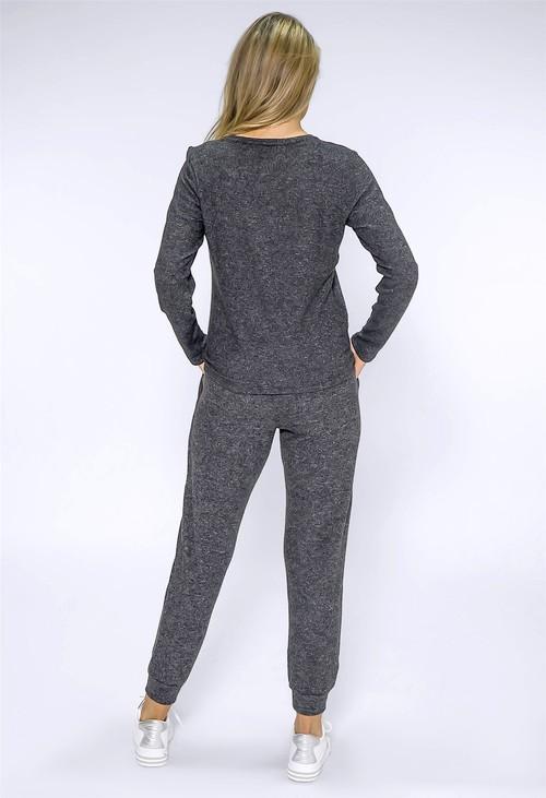 Twist Dark Grey Knit with Rhinestone Stars