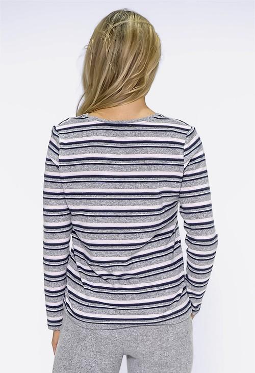 Twist Light Grey Multi Stripe Top