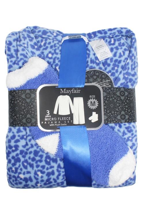 PS Nightwear 3 piece microfleece leopard print pyjama set with plush socks
