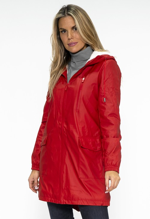 PS Collection Red Hooded Raincoat with Cosy White Lining