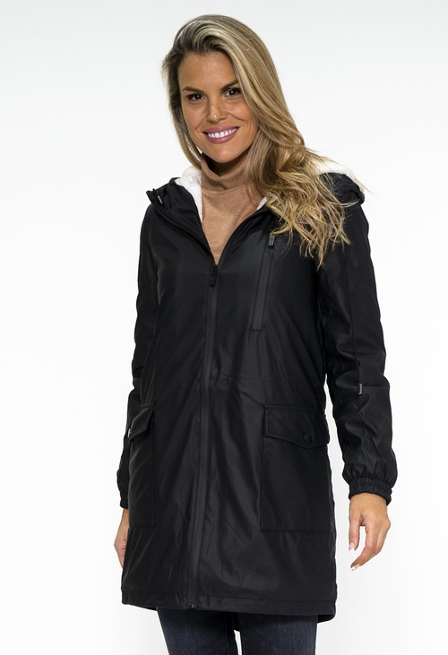 PS Collection Black Hooded Raincoat with White Cosy Lining