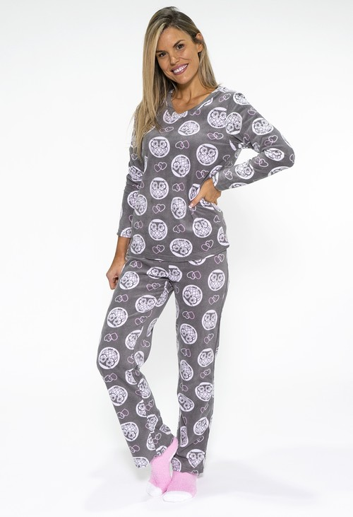 PS Nightwear 3 piece microfleece owl print pyjama set with plush socks