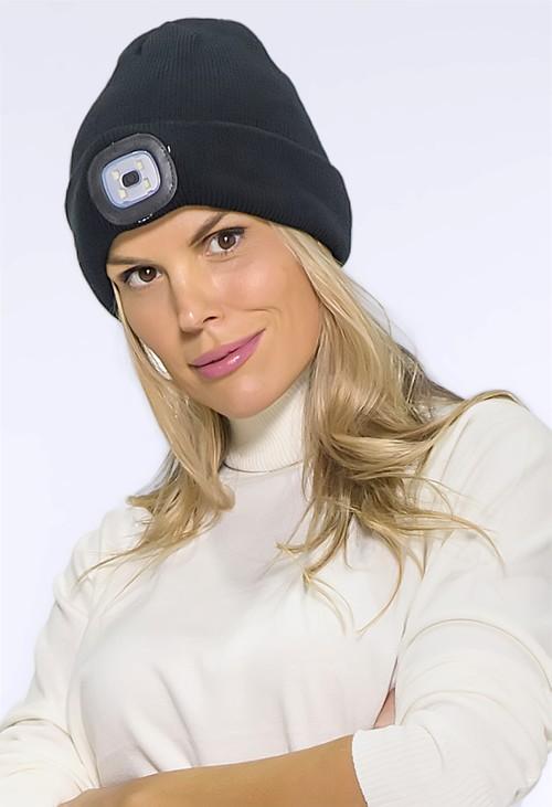 Pamela Scott Black LED Knit Hat