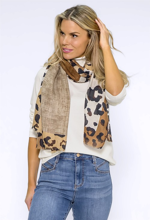 Pamela Scott Brown Leopard Panel Scarf