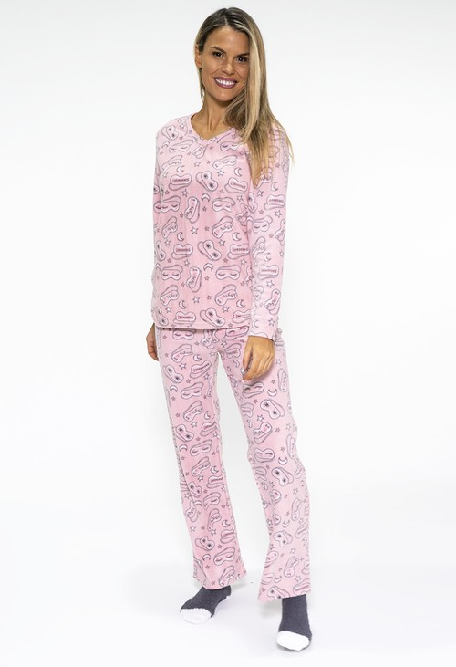 PS Nightwear 3 piece microfleece sleep print pyjama set with plush socks