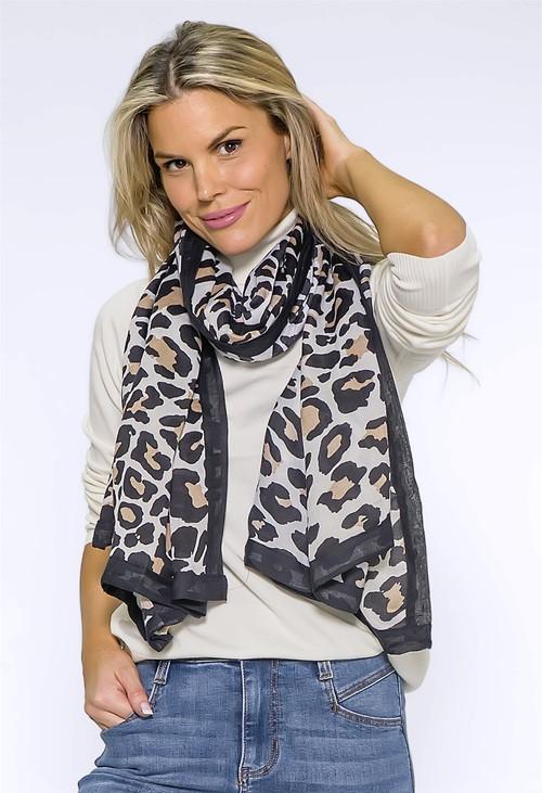 Pamela Scott Large Cream Leopard Print Scarf