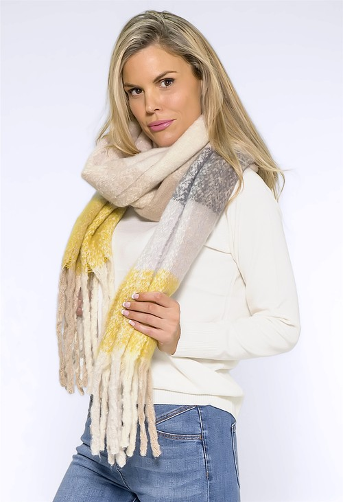 Pamela Scott Large Yellow/Grey Panelled Soft Woolly Scarf