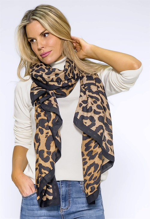 Pamela Scott Large Brown Leopard Print Scarf