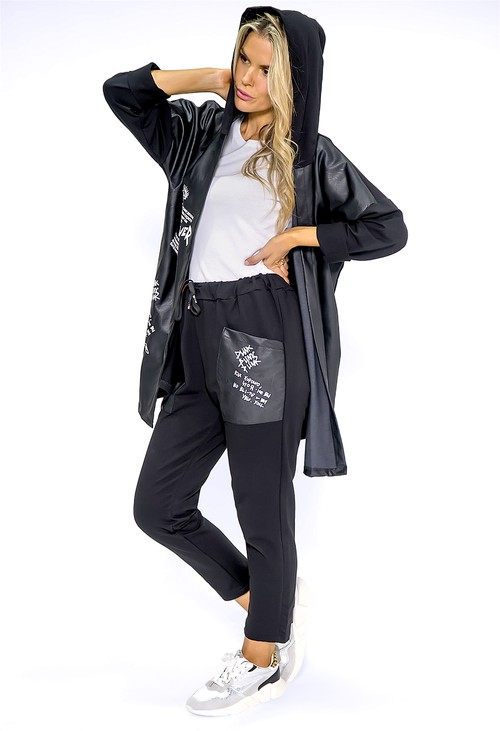 Pamela Scott Black Faux Leather Graffiti Coat