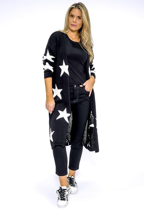 Zapara Long Black Star Knit Cardigan