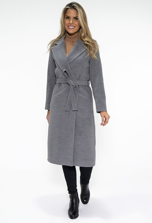 Zapara Grey Midi Length Coat with Belt