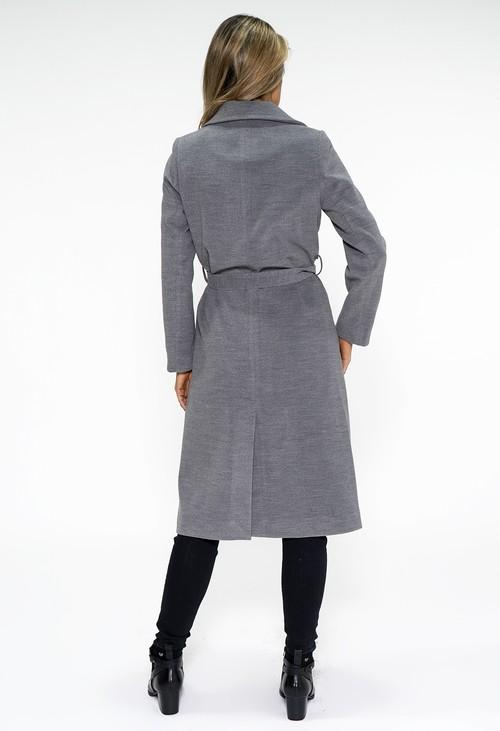Zapara Grey Midi Length Coat with Belt