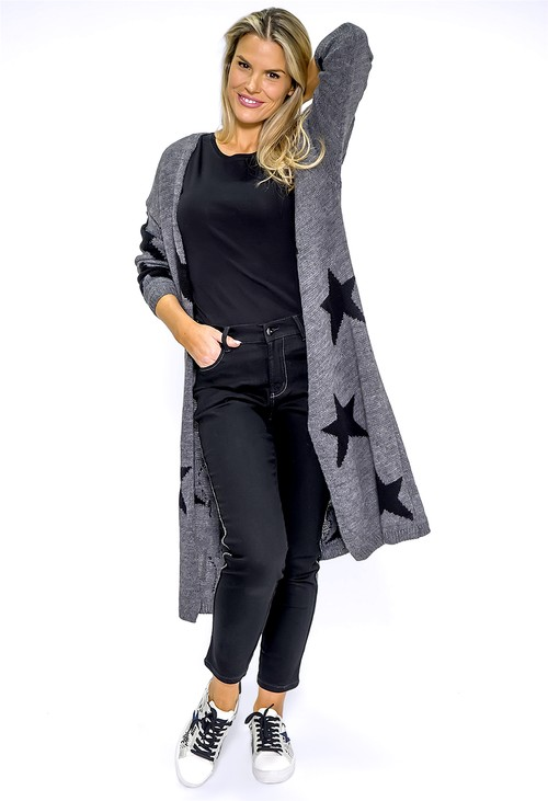 Zapara Long Dark Grey Star Knit Cardigan - Pre-Order 5th Dec