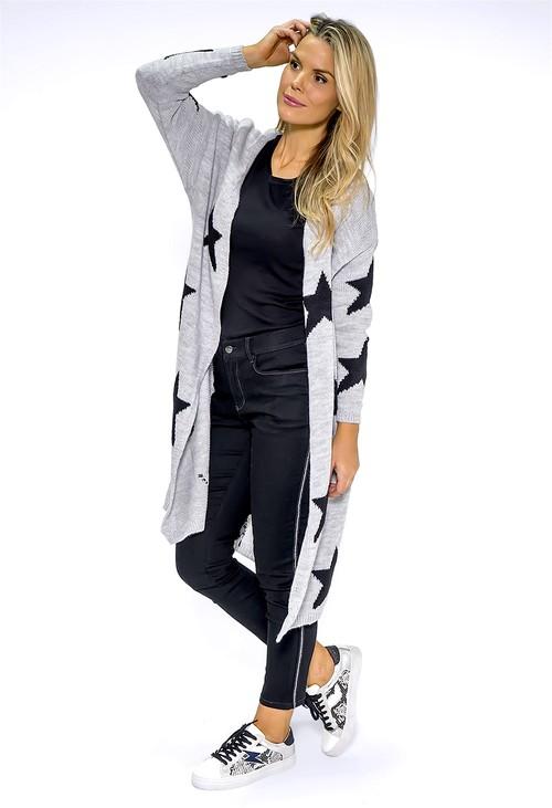 Zapara Long Light Grey Star Knit Cardigan