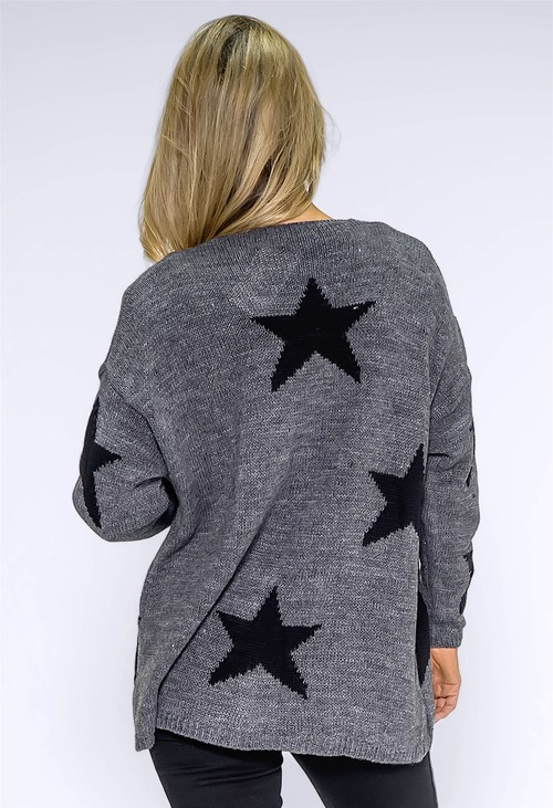Zapara Dark Grey Star Cardigan