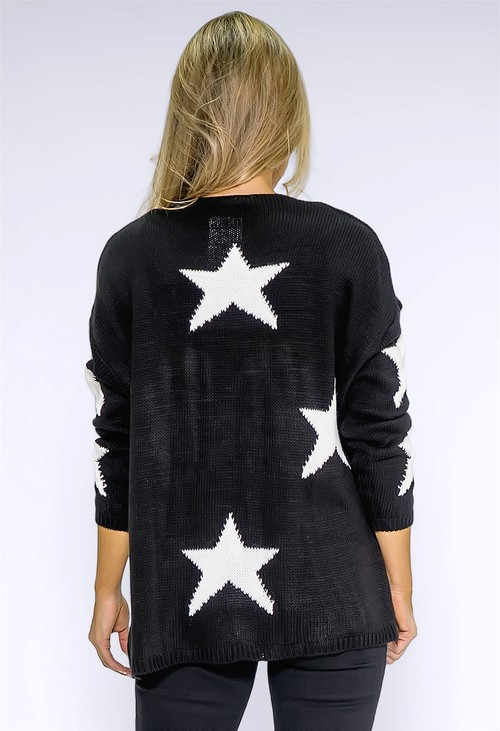 Zapara Black Star Knit Cardigan