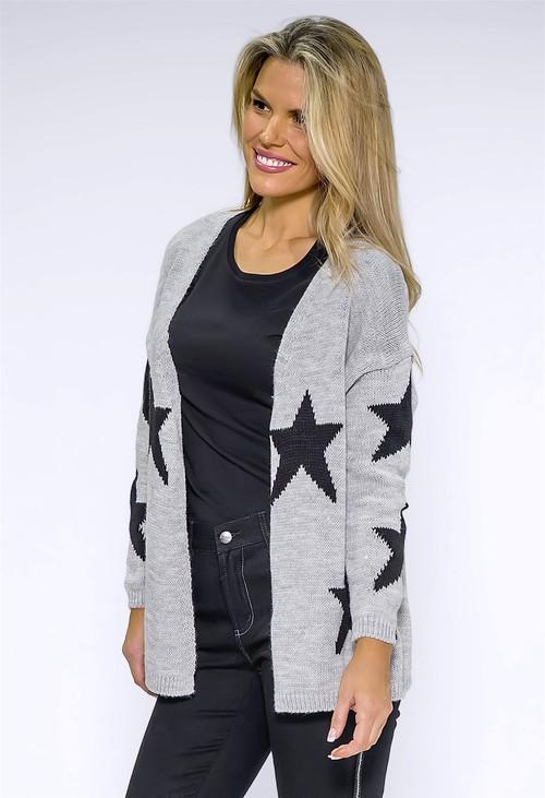 Zapara Light Grey Star knit Cardigan