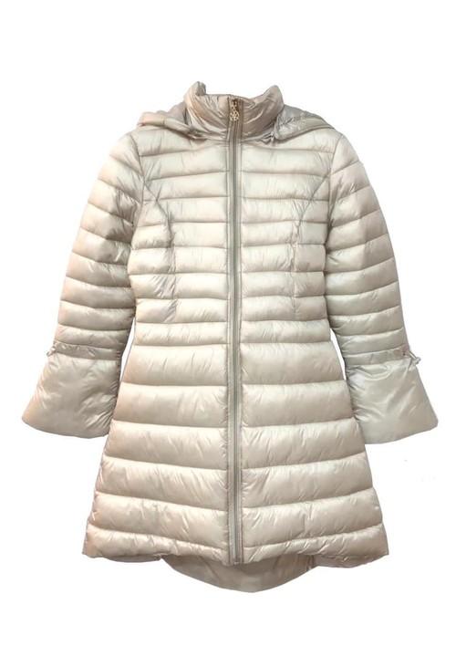 Pamela Scott Stylish Light Beige Puffer Coat