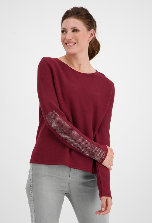 Monari Merlot Pullover with Rhinestone Detailed Sleeves