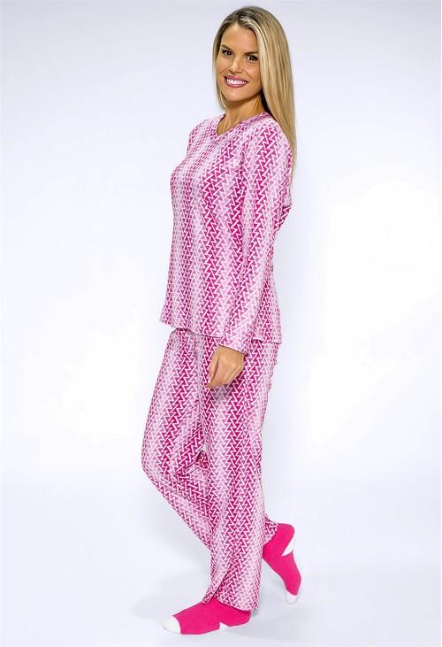 PS Nightwear 3 piece microfleece ZIGZAG print pyjama set with plush socks