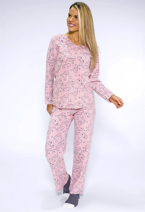 PS Nightwear 3 piece microfleece sleep print pyjama set with plush socks