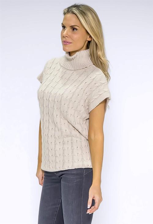 Pamela Scott Beige Knit Turtleneck
