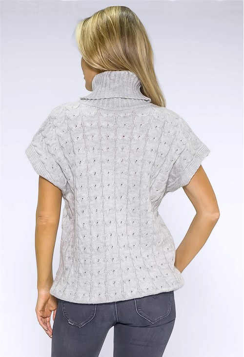 Pamela Scott Light Grey Knit Turtleneck