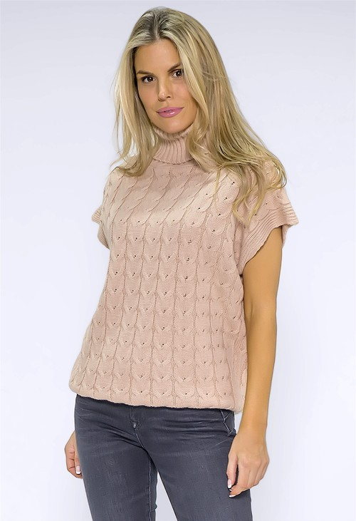 Pamela Scott Dusty Pink Knit Turtleneck