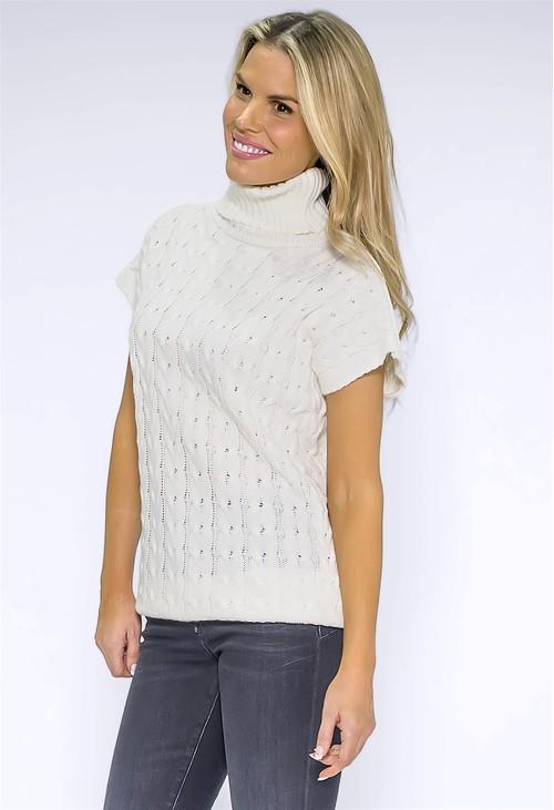 Pamela Scott Cream Knit Turtleneck