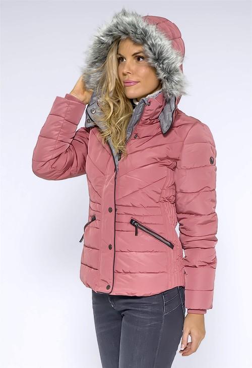 Pamela Scott Pink Faux Fur Hooded Jacket