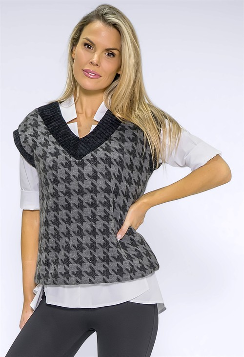 Zapara Grey Hounds Tooth Knit Vest
