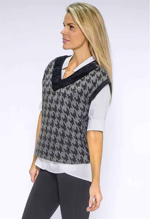 Zapara Grey Hounds Tooth Knit Vest