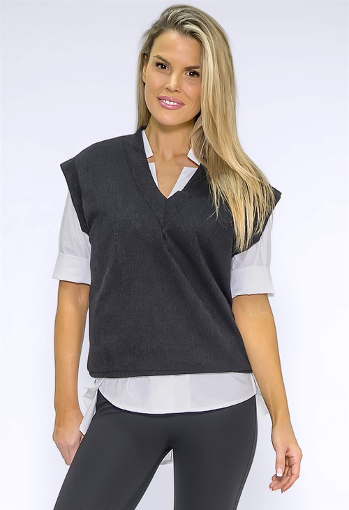 Zapara Black Knit Vest