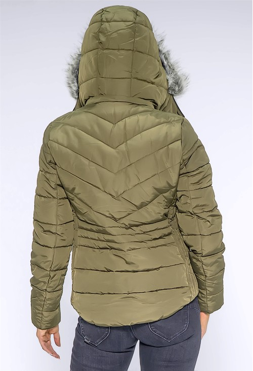 Pamela Scott Khaki Faux Fur Hooded Jacket