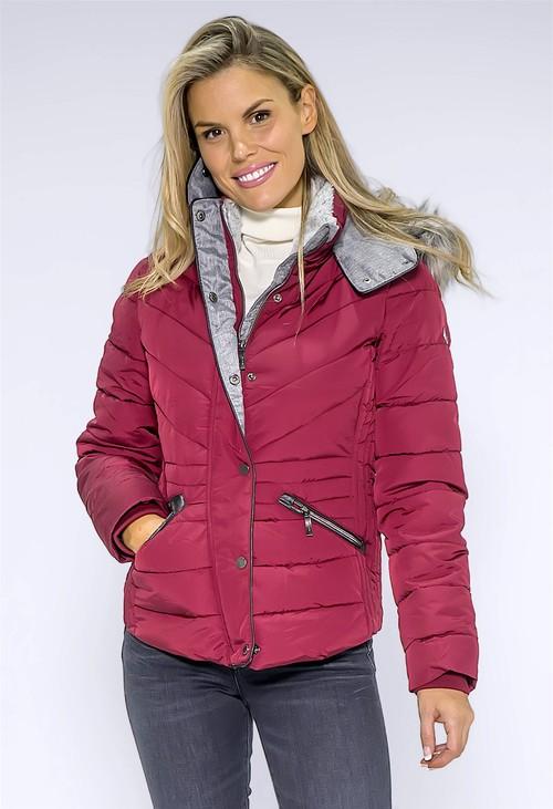 Pamela Scott Wine Faux Fur Hooded Jacket