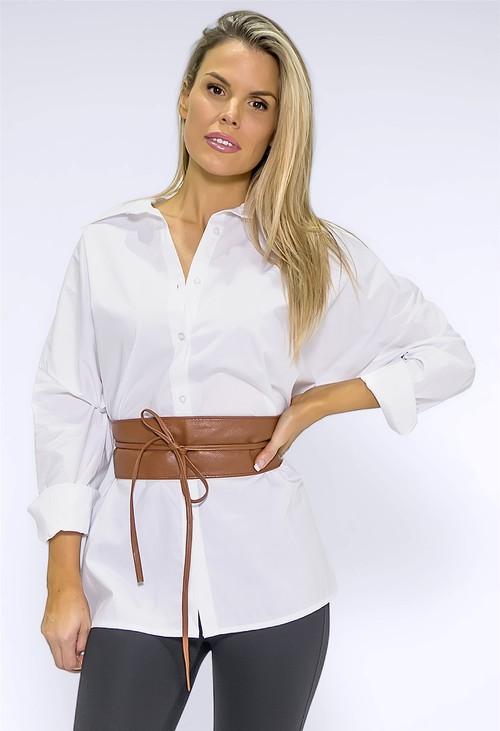 Pamela Scott Tan Obi Faux Leather Belt