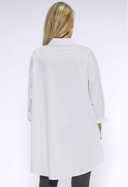 Wendy Trendy Long White Button Down Shirt