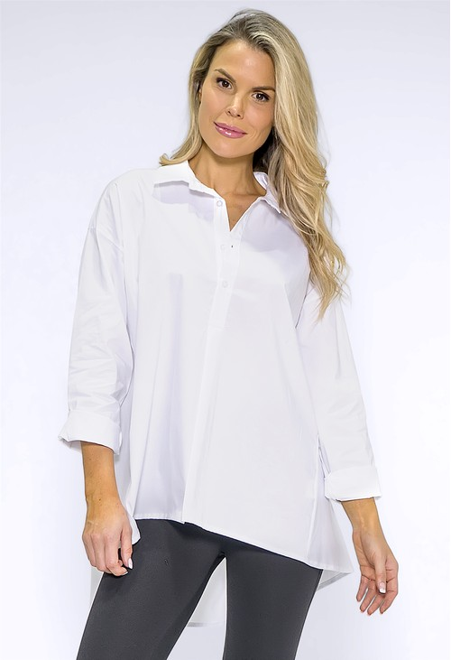 Wendy Trendy White Collared Long Shirt