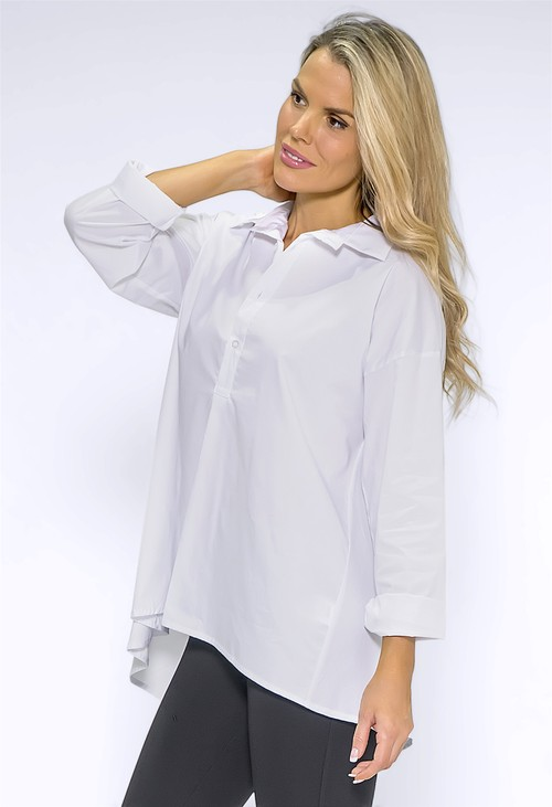 Wendy Trendy White Collared Long Shirt