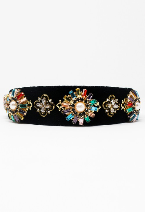 Pamela Scott Black Velvet Jewel Headband