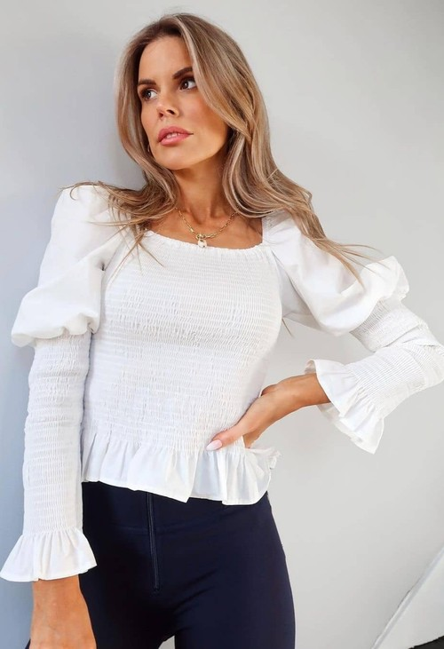 Pamela Scott Off-White Puff Shoulder Smocking Top