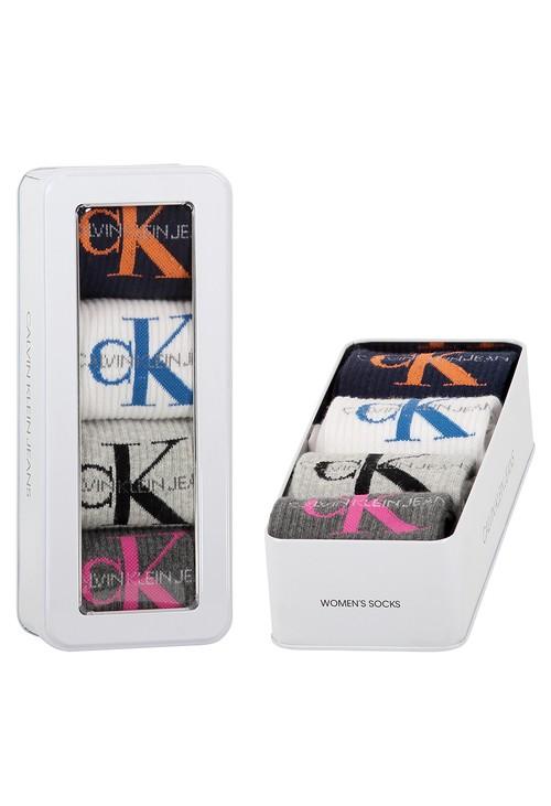 Calvin Klein 4 PACK LOGO CREW SOCKS GIFT SET WOMENS