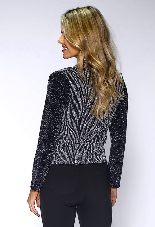 Pamela Scott Silver Glittered Wrap Top