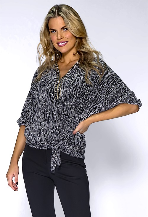Pamela Scott Silver Batwing Top with Studded Neckline