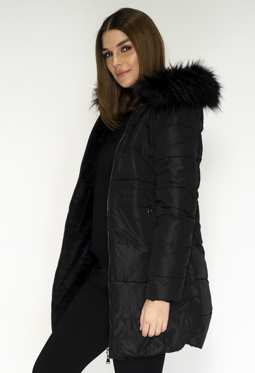 Pamela Scott Reversible Black Coat with Detachable Faux Fur Hood
