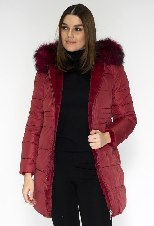 Pamela Scott Reversible Wine Coat with Detachable Faux Fur Hood