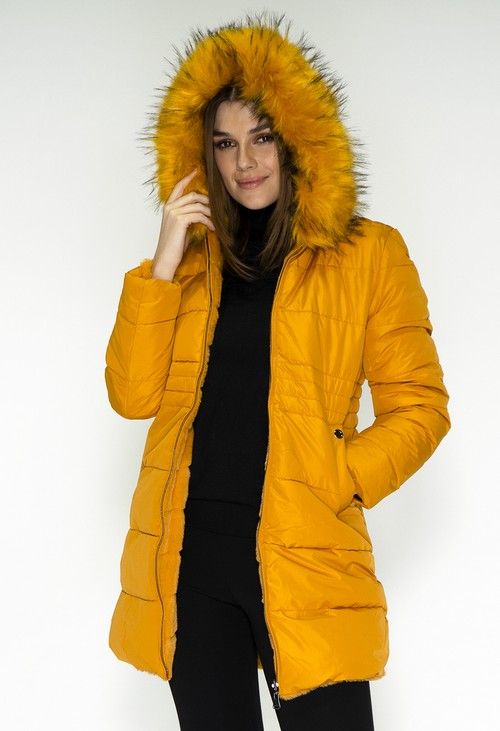 Pamela Scott Reversible Mustard Coat with Detachable Faux Fur Hood