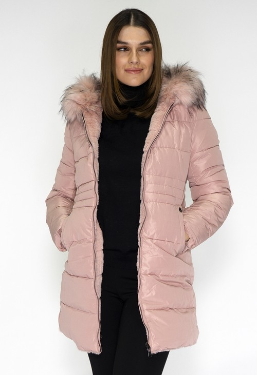 Pamela Scott Reversible Pink Coat with Detachable Faux Fur Hood