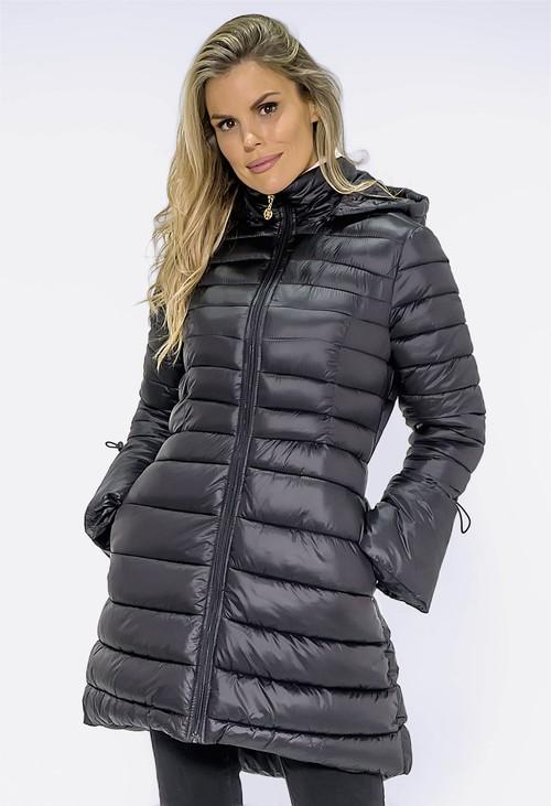 Pamela Scott Stylish Black Quilted Puffer Coat