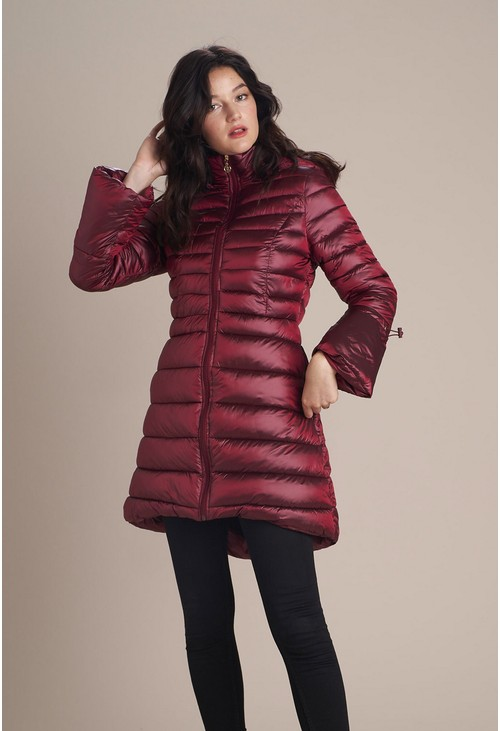 Pamela Scott Stylish Wine Puffer Coat